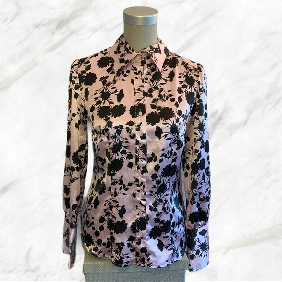 Jessica | Black Floral Pastel Pink Silky Blouse